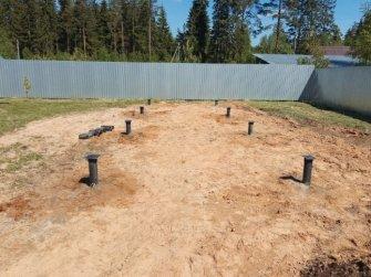 Монтаж свайно-винтового фундамента для бани 9000х3000 мм